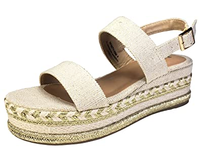 64d1dcdae12 BAMBOO Women's Single Band Espadrilles Platform Sandal with Ankle Strap