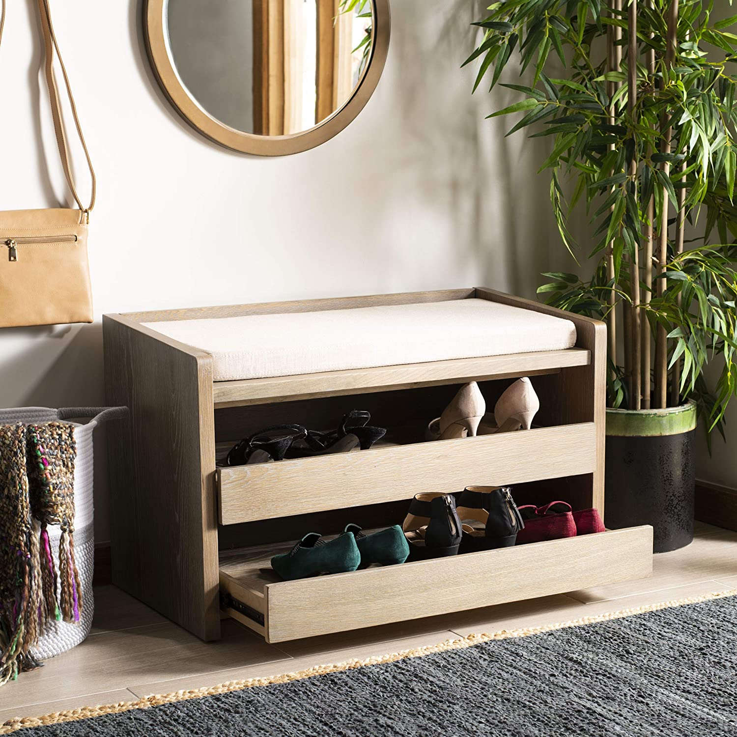 Safavieh Home Percy 31-inch Rustic Oak and Beige Storage Bench