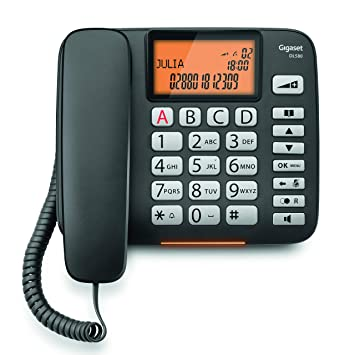 Gigaset DL580. Teléfono Fijo con Cable; Manos Libres; Gran pantall de Alta Visibilidad; Compatible con audifonos; Color Negro.