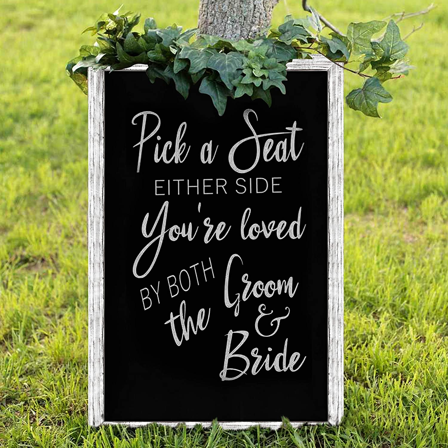"""TenXVI Designs 24""""x36"""" Magnetic Chalkboard Sign and 1 Liquid Chalk Marker - Decorative Blackboard for Weddings, Farmhouses, Restaurants and Home Decor - No Legs - Rustic White: Office Products"""