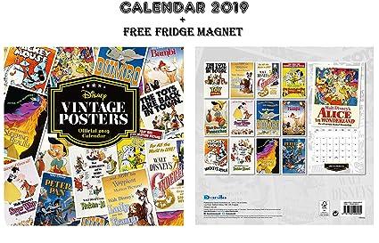 Pósteres oficiales de Disney Vintage Calendario 2019 + imán de ...