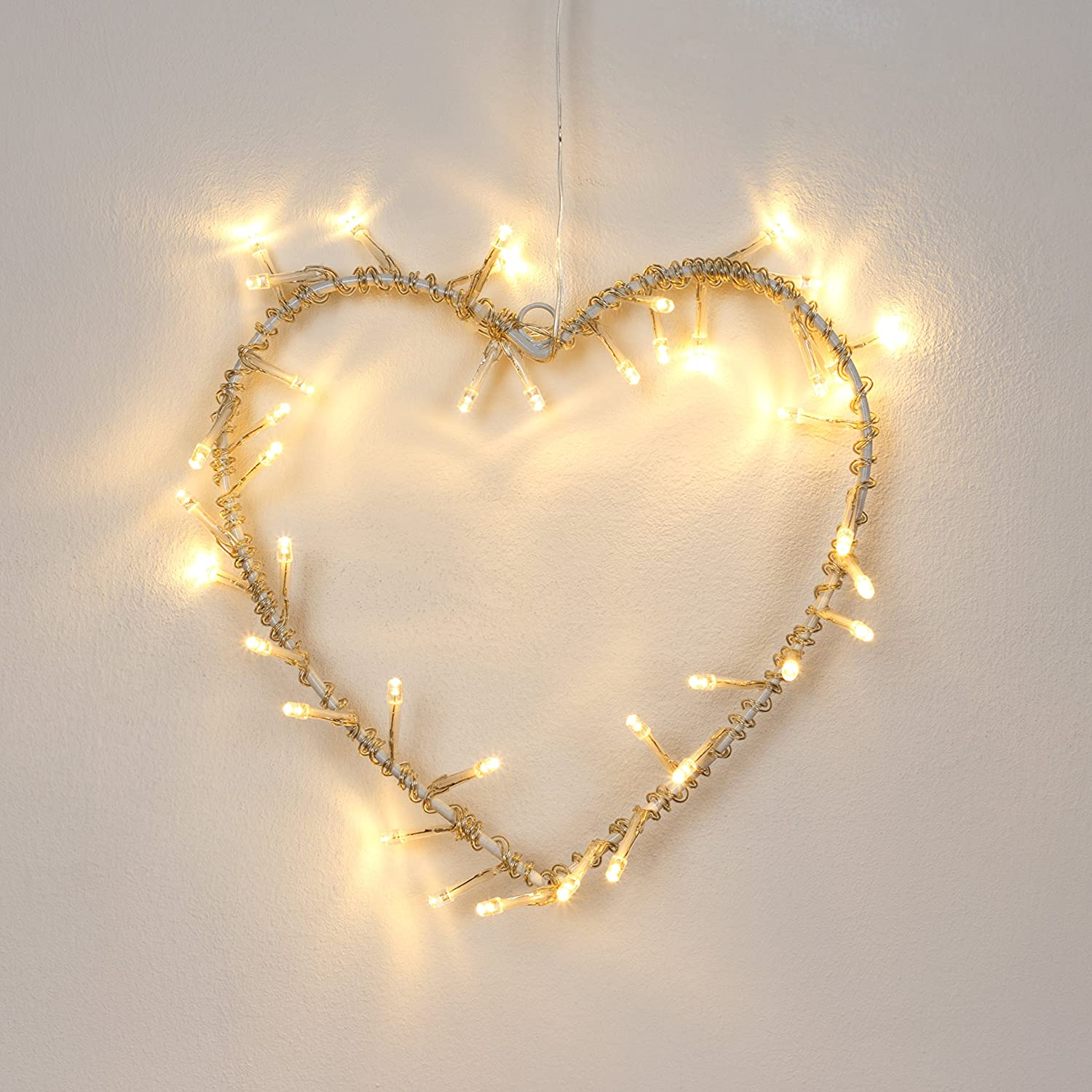 Decorative Warm White LED Battery Operated Metal Heart Wall Light ...