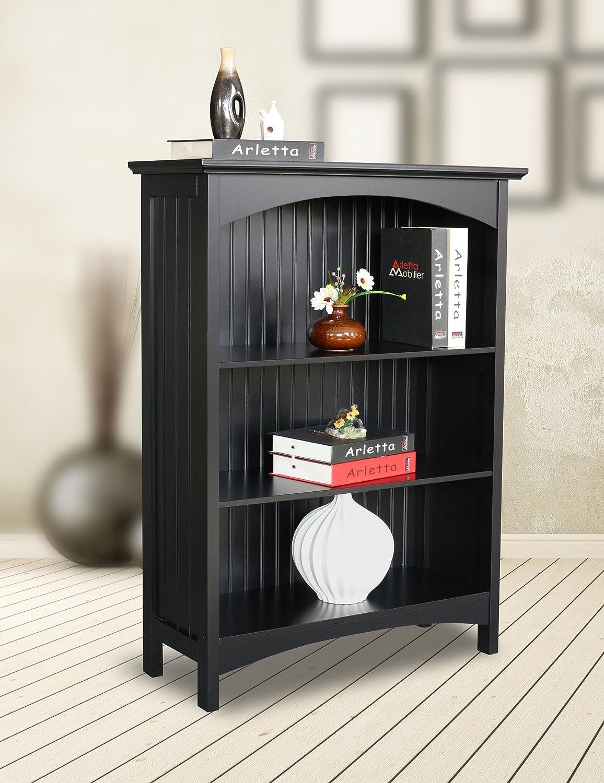 eHemco 3 Tier Bookcase in Black