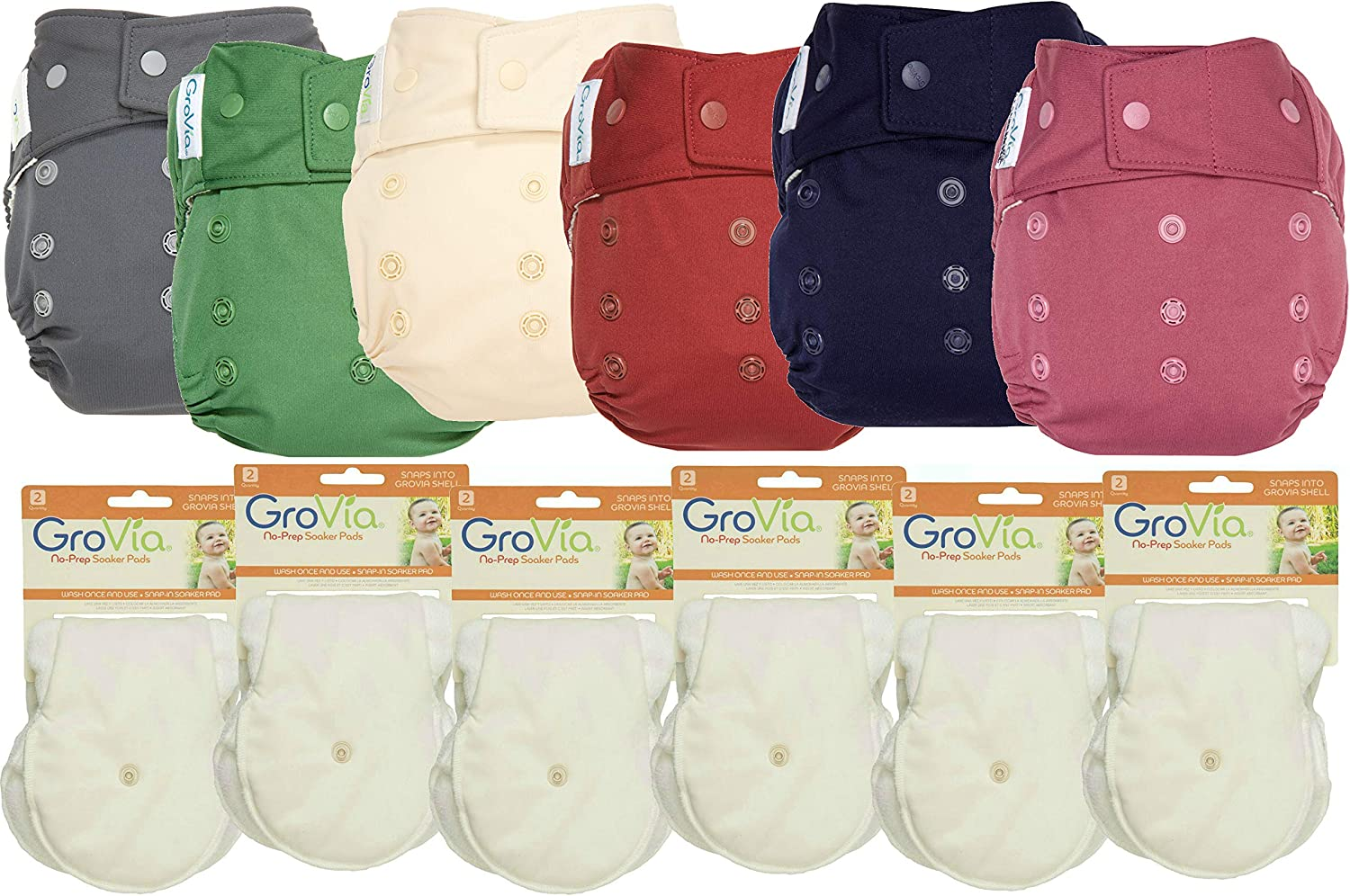 Color Mix 8 Hook /& Loop GroVia Experience Package 4 No Prep Soaker Pads 2 Shells