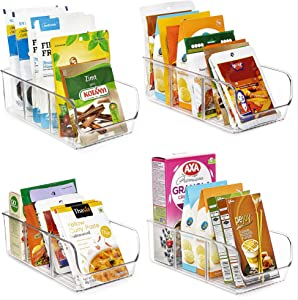Vtopmart Food Packet Organizer Bins for Pantry Organization and Storage, 4 Pack Clear Plastic Holder for Organizing Seasoning Packets, Spice Packets, Pouches, Snacks in Kitchen or Cabinets