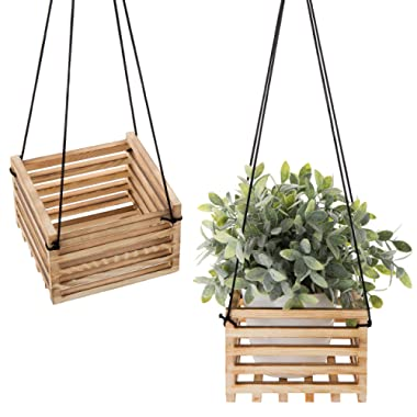 MyGift 7-Inch Rustic Burnt Wood Hanging Crate Plant Holder with Black Rope, Set of 2