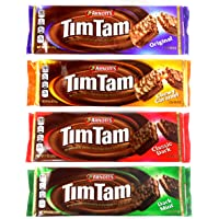 Arnott's Tim Tam Australian Chocolate Cookies Pack of 4 Variety (Original, Caramel, Dark, Dark Mint) Full Size