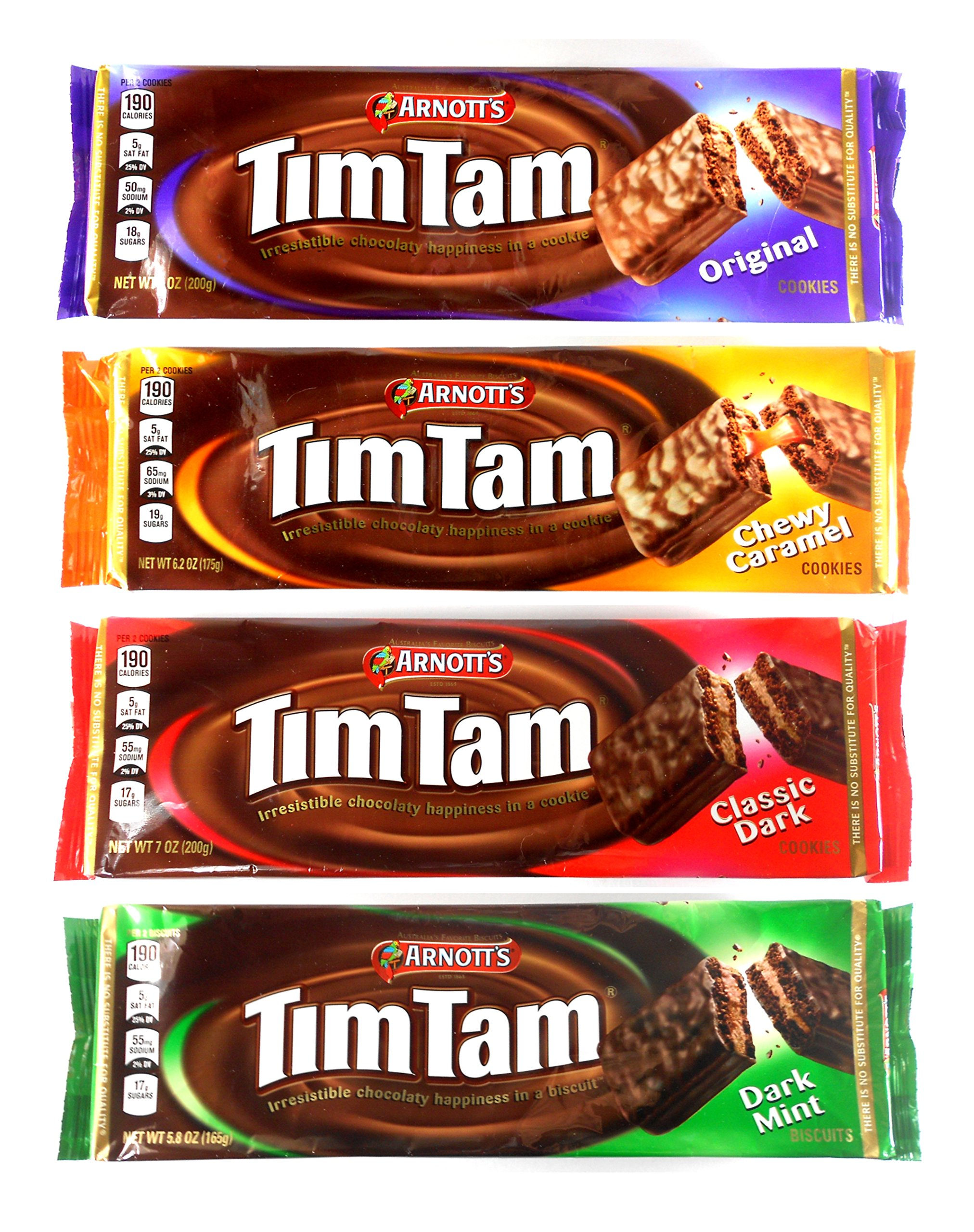 Arnott's Tim Tam Australian Chocolate Cookies Pack of 4 Variety (Original, Caramel, Dark, Dark Mint) Full Size by Arnotts