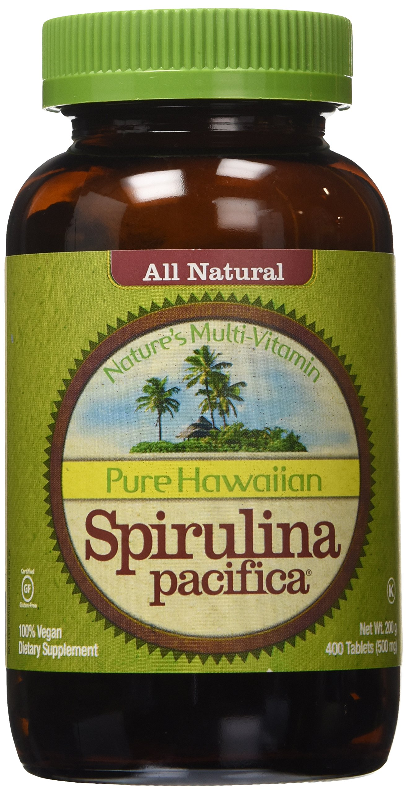 Nutrex Hawaii Pure Hawaiian Spirulina Pacifica -- 500 mg - 400 Tablets (Pack of 2)