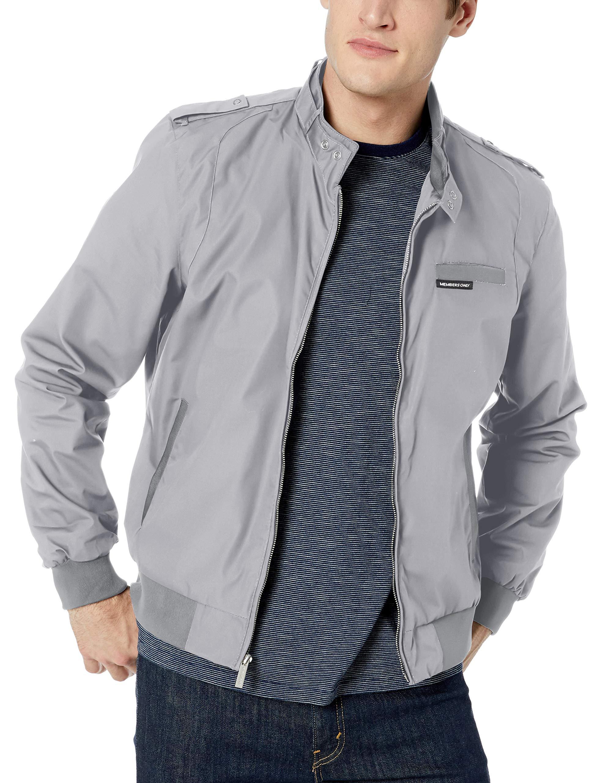 Members Only Men's Original Iconic Racer Jacket, Grey, Medium