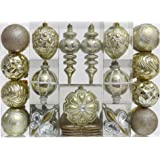 Valery Madelyn 50ct Luxury Gold Beige Shatterproof Christmas Ornament Tree Ball Decoration, 50 Pcs Metal Hooks Included, Themed with Tree Skirt(Not Included)