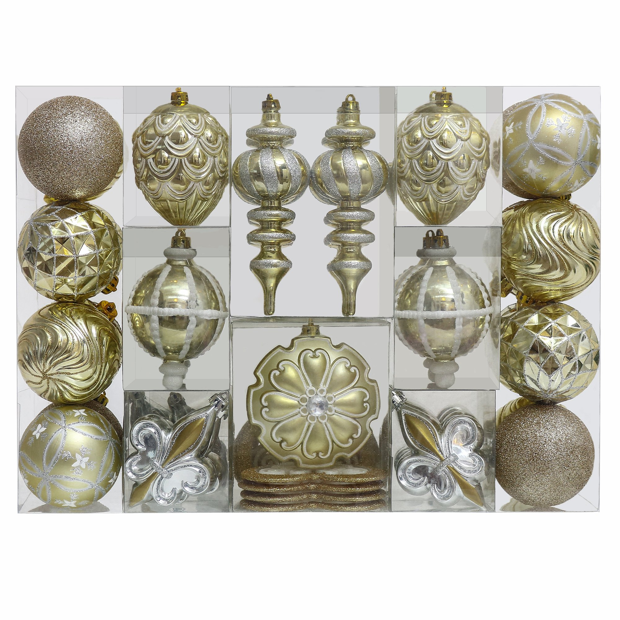 V&M VALERY MADELYN 50ct Shatterproof Christmas Balls Ornaments Luxury Gold Beige,3.15inch-6.3inch /8CM-16CM,50 Pcs Metal Hooks Included,Themed with Tree Skirt(Not Included)