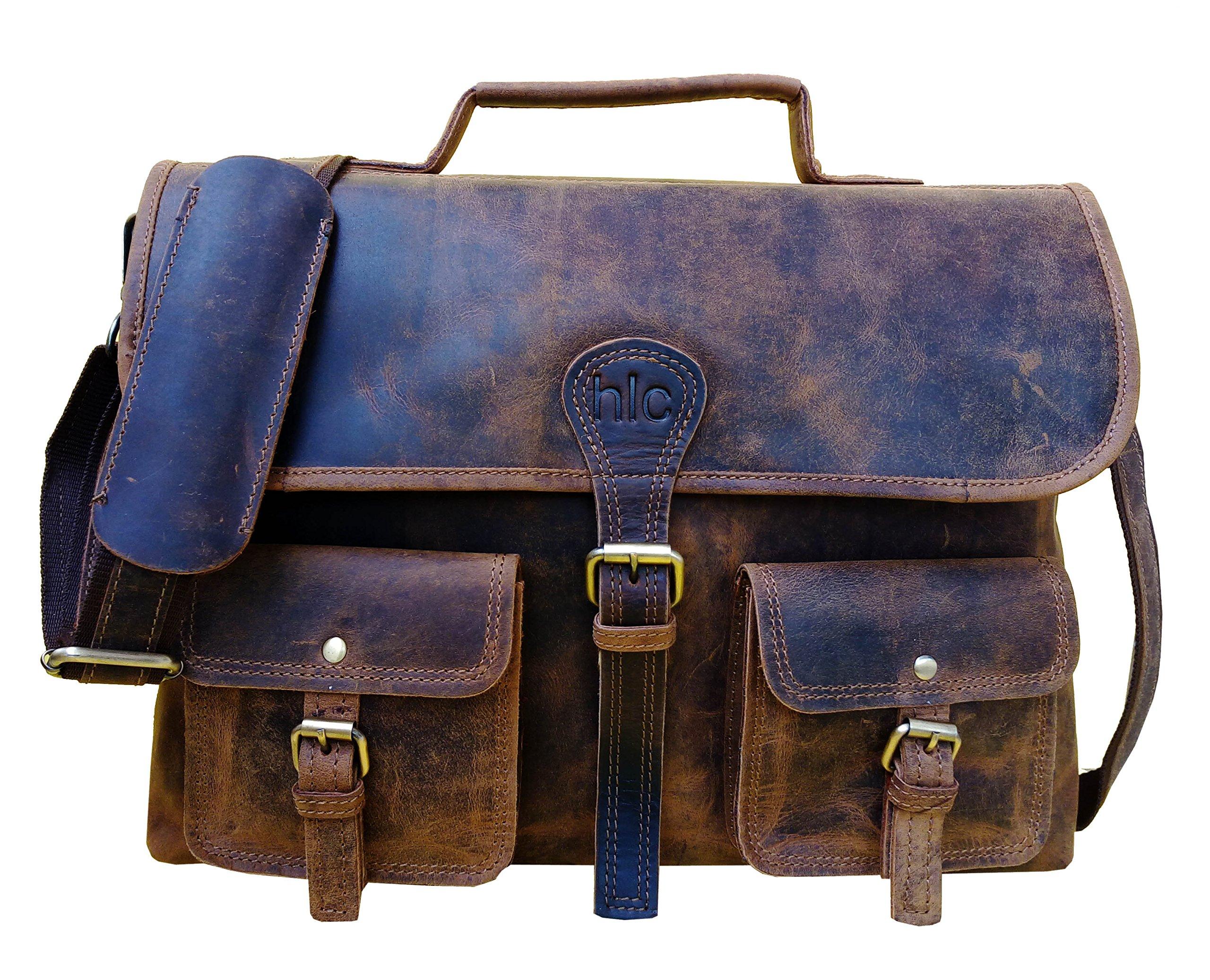 Handolederco. Vintage Leather Laptop Bag 15'' Messenger Handmade Briefcase Crossbody Shoulder School Bag by HLC