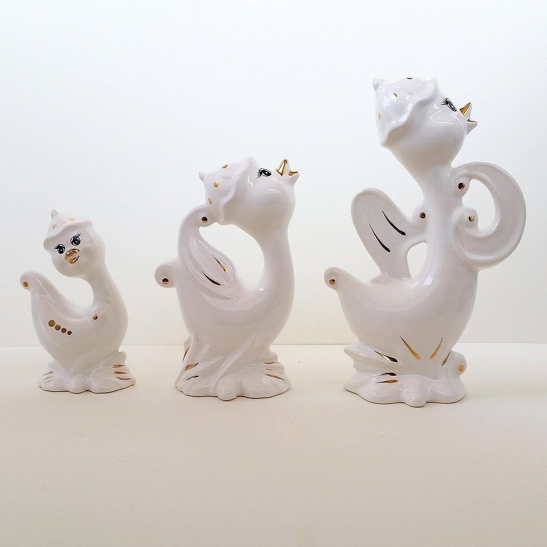 ArioCraft Handmade Decorative Ceramic Happy Duck Figurines Set of 3, Pottery Home Decor