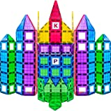 MAGEES Magnetic Building Blocks 100 Set - Magnet Toys Building Strongest Magnets - Magnetic Tiles Includes Bonus 13 Piece Insert Alphabet Cards - STEM 3D Magnet Tiles - Original Magees