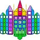 Play22 MAGEES Magnetic Building Blocks 100 Set - Magnet Toys Building Strongest Magnets - Magnetic Tiles Includes Bonus 13 Piece Insert Alphabet Cards - STEM 3D Magnet Tiles - Original Magees