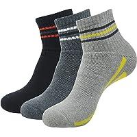 Balenzia Men's Cushioned High Ankle Sports Socks- Black, L.Grey, D.Grey(Pack of 3)