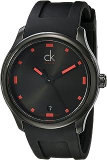 Calvin Klein Mens K2V214DZ Visible Black/Red Dial Black Rubber Strap Swiss Quartz