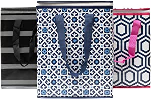 Planet E Reusable Grocery Shopping Bags - Colorful Collapsible Insulated Zippered Coolers