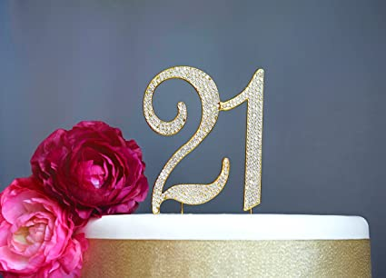 21 GOLD Cake Topper | Premium Sparkly Crystal Rhinestones | 21st Birthday or Anniversary Party Decoration & Amazon.com: 21 GOLD Cake Topper | Premium Sparkly Crystal ...
