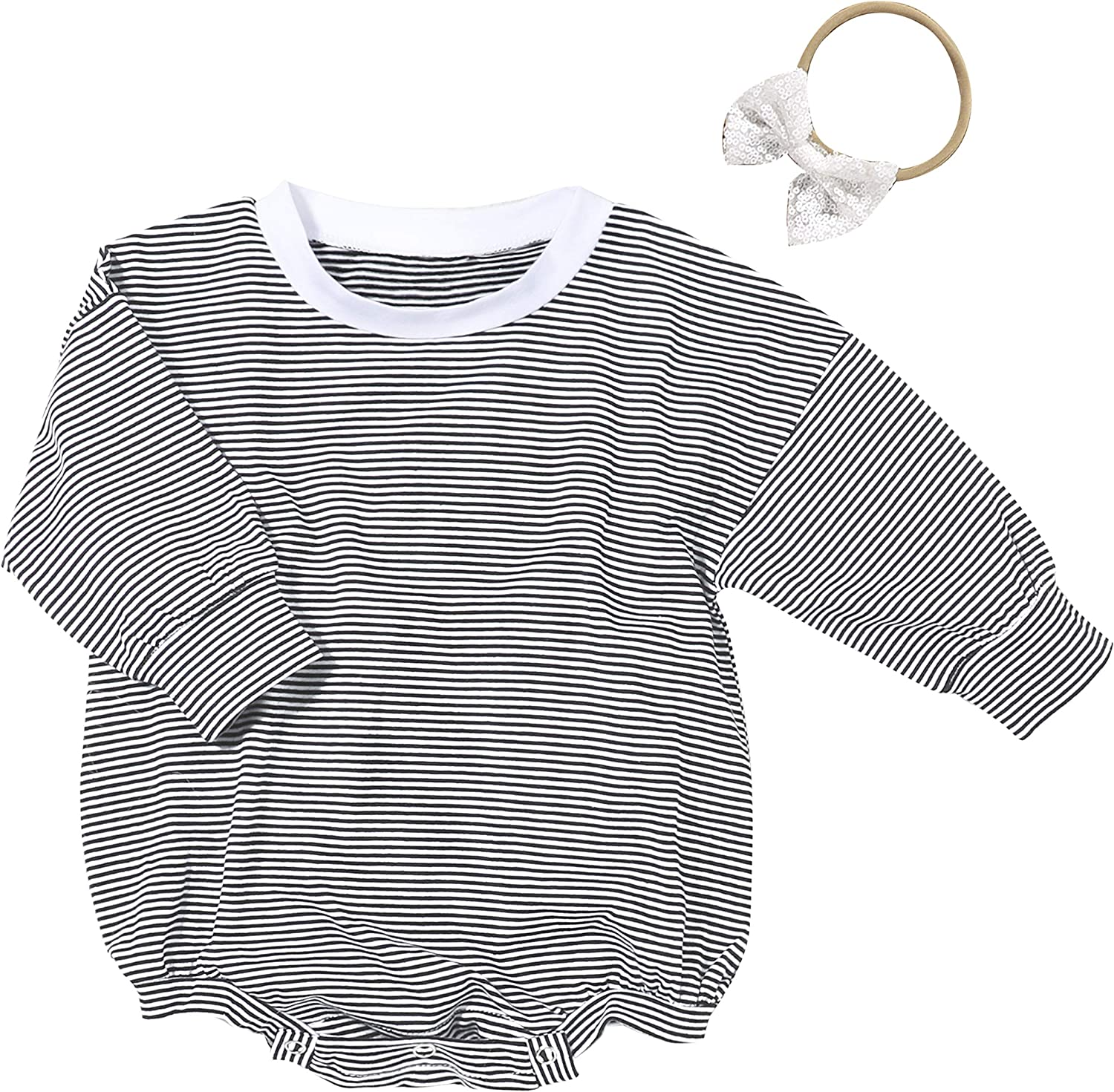 Toddlers Baby Girls Cotton Clothes Long Sleeve Romper Bodysuit Jumpsuit Outfits
