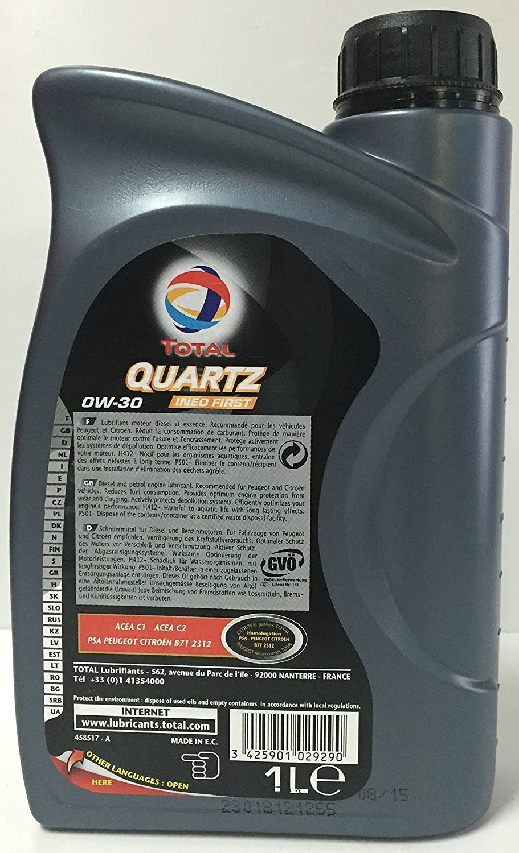 Aceite lubricante coche Total Ineo First 0W-30 1 Ltr (2 L=2x1 lt): Amazon.es: Coche y moto
