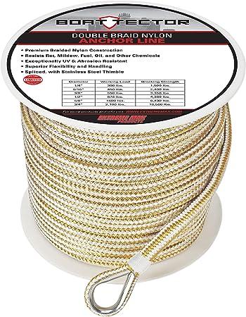"3//8/"" 50FT Amarine-made Premium Solid Braid MFP Nylon Anchor Line with Thimble US"