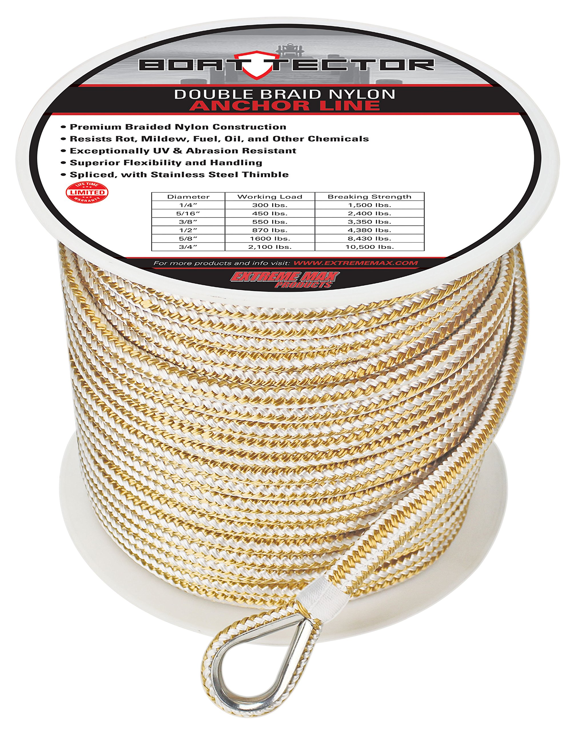 Extreme Max 3006.2347 BoatTector Double Braid Nylon Anchor Line with Thimble - 3/8'' x 600', White & Gold
