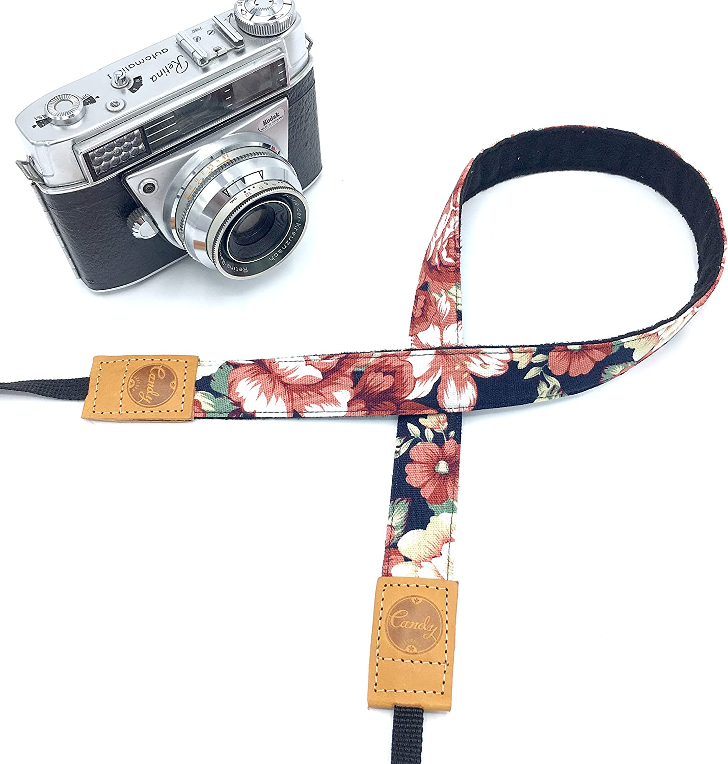 Genuine leather camera Strap Presonalized Mini Navy Flora Camera strap,Candy Leather Mirrorless Camera Strap