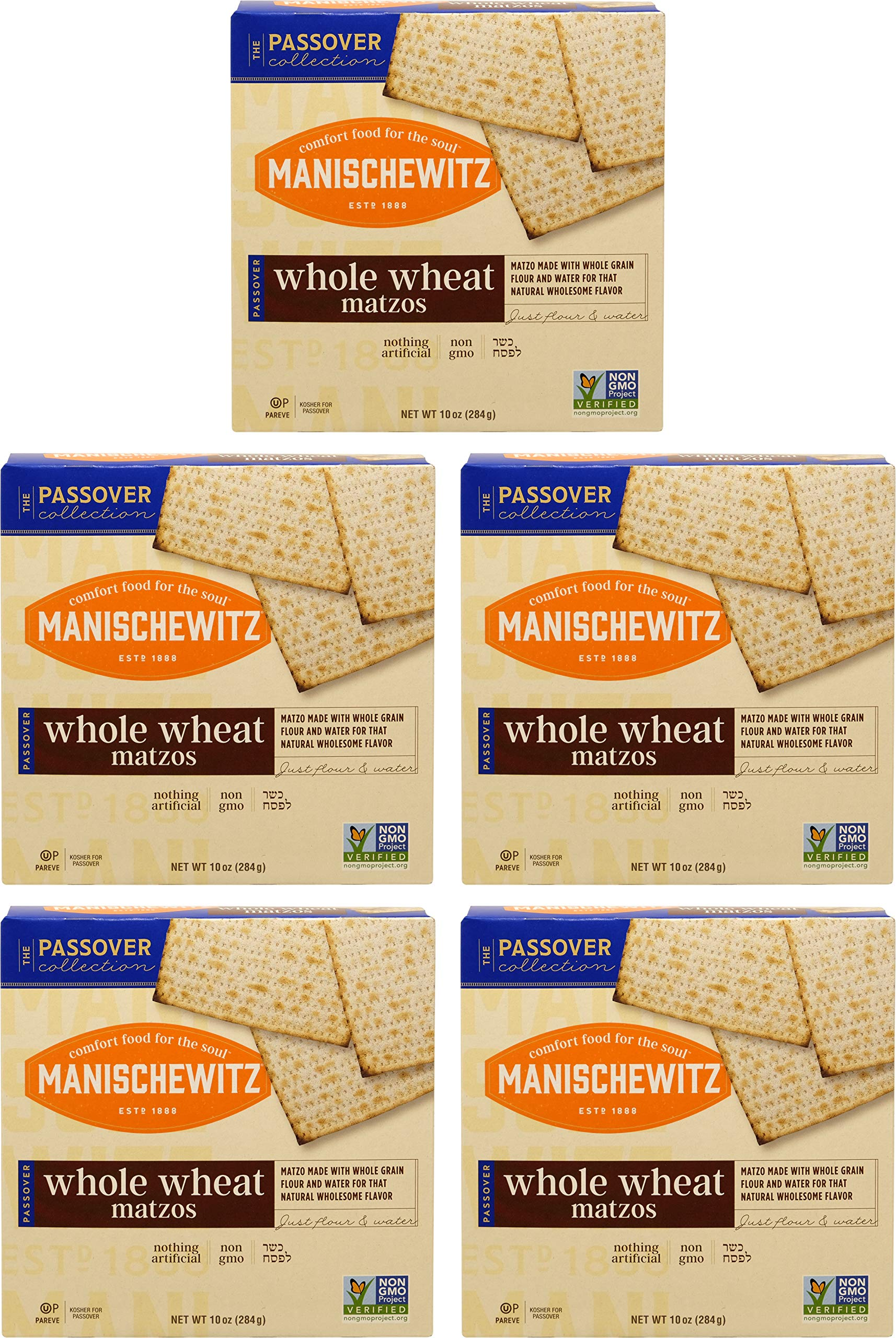 Manischewitz Whole Wheat Matzo, Kosher For Passover, 10 Ounce Box (Pack of 5, Total of 50 Oz)