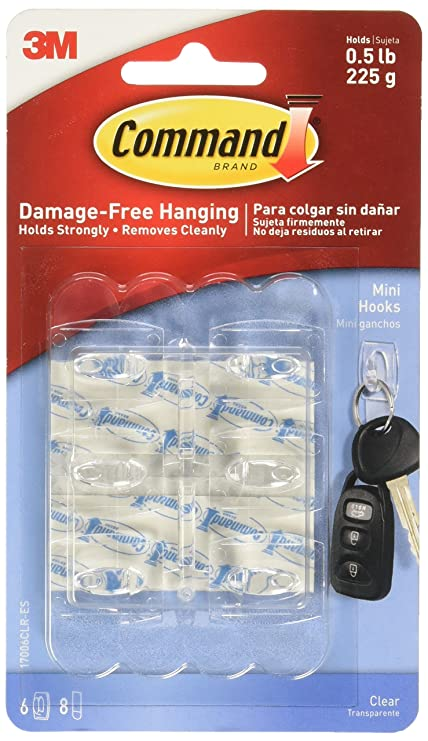 1db5fa72ce85 3M Command Hooks Transparent Plastics 6 Hook / 8 S Size Bands, Clear ...