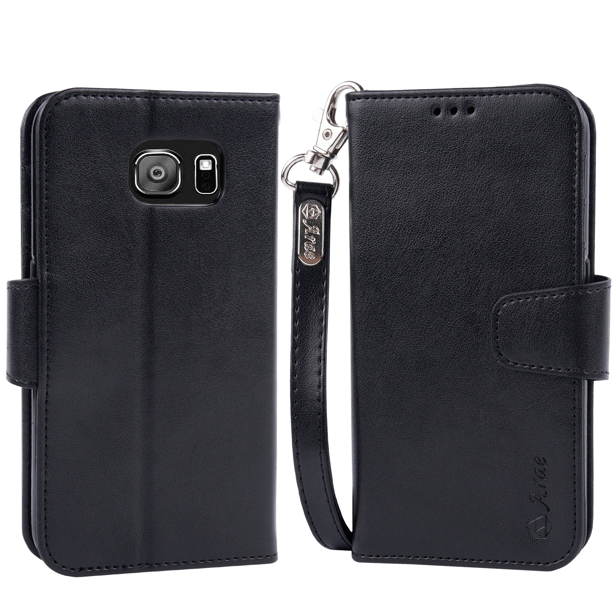 Arae Galaxy S6 Case, Samsung Galaxy S6 wallet case, [Wrist Strap] Flip Folio [Kickstand Feature] PU leather wallet case with ID&Credit Card Pockets For Samsung Galaxy S6 (Black) by Arae (Image #2)