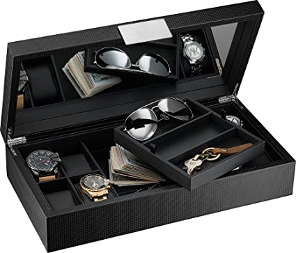 efc029ba0d2 Glenor Co Watch and Sunglasses Box with Valet Tray for Men -14 Slot Luxury  Display
