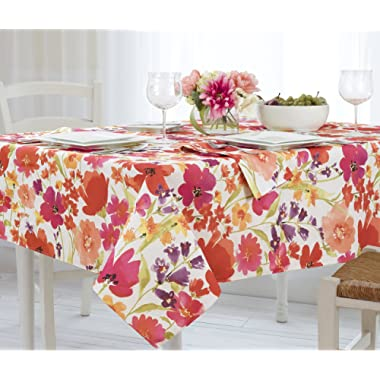 Elrene Home Fashions 39318MLT Vinyl Tablecloth with Polyester Flannel Backing Floral Gardens Easy Care Spillproof, 60 X120