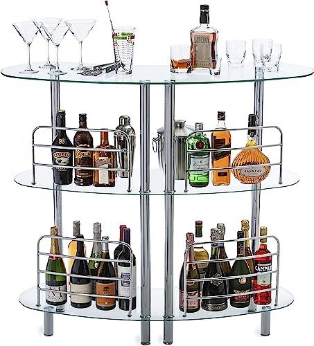 Mango Steam Contemporary Modern Home Liquor Bar Catalina Table Tempered Gla