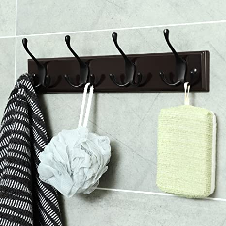 Amazon.com: SONGMICS Perchero de pared con 4 ganchos triples ...