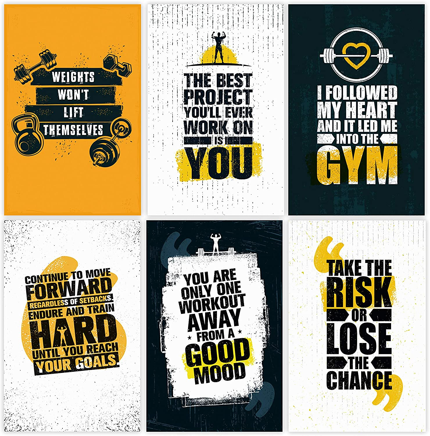 Amazon Com Set Of 6 11x17 Inspirational Gym Posters Motivational Fitness Wall Art For Home Gym Decorations Bodybuilding Poster For Teens Workout Prints With Motivation Quotes For Room Decor Posters Prints