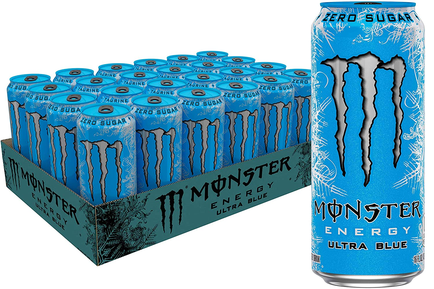 Monster Energy Ultra Blue Sugar Free Energy Drink 16 Ounce Pack Of 24 Amazon Com Grocery Gourmet Food