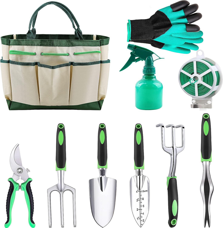 UJUJIA Garden Tools Set 10 Pieces Gardening Hand Tool Kit, Piece Aluminum Hand Tool Kit, Durable Storage Tote Bag, Outdoor Gifts for Men Women