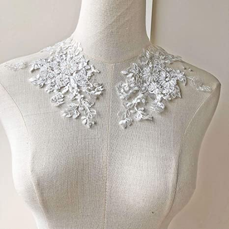 Beaded Bridal Lace Applique Wedding Dress Motif Floral Ivory Sewing Trim 1 Pair