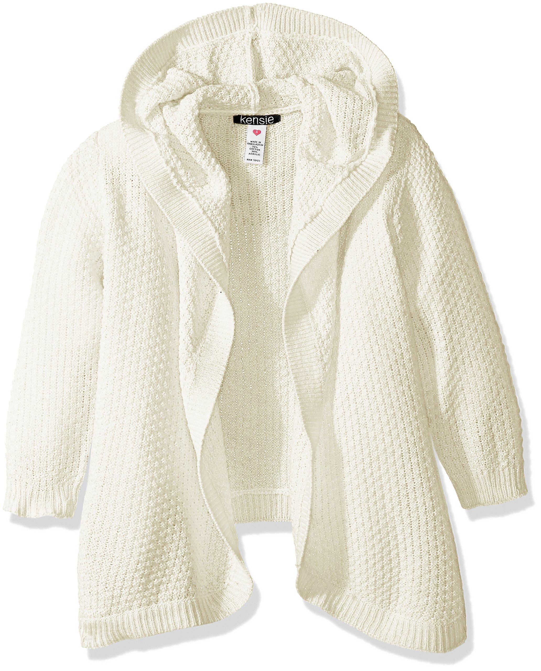 Kensie Big Girls' Cardigan Sweater (More Styles Available), Vanilla, 14/16
