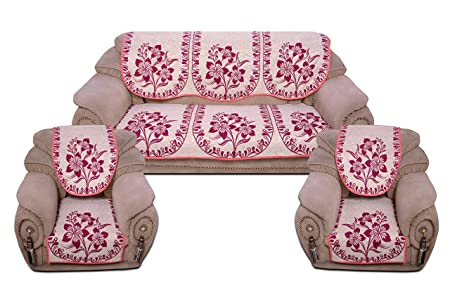 Decorista Velvet and Cotton Covers for 5 Seater Sofa (Pink)