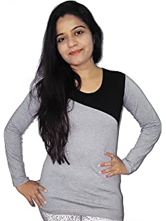 af5cf7c6c4c Fubura Womens Cotton Casual T-shirts Round Neck Full Sleeve with Grey Black  Colour