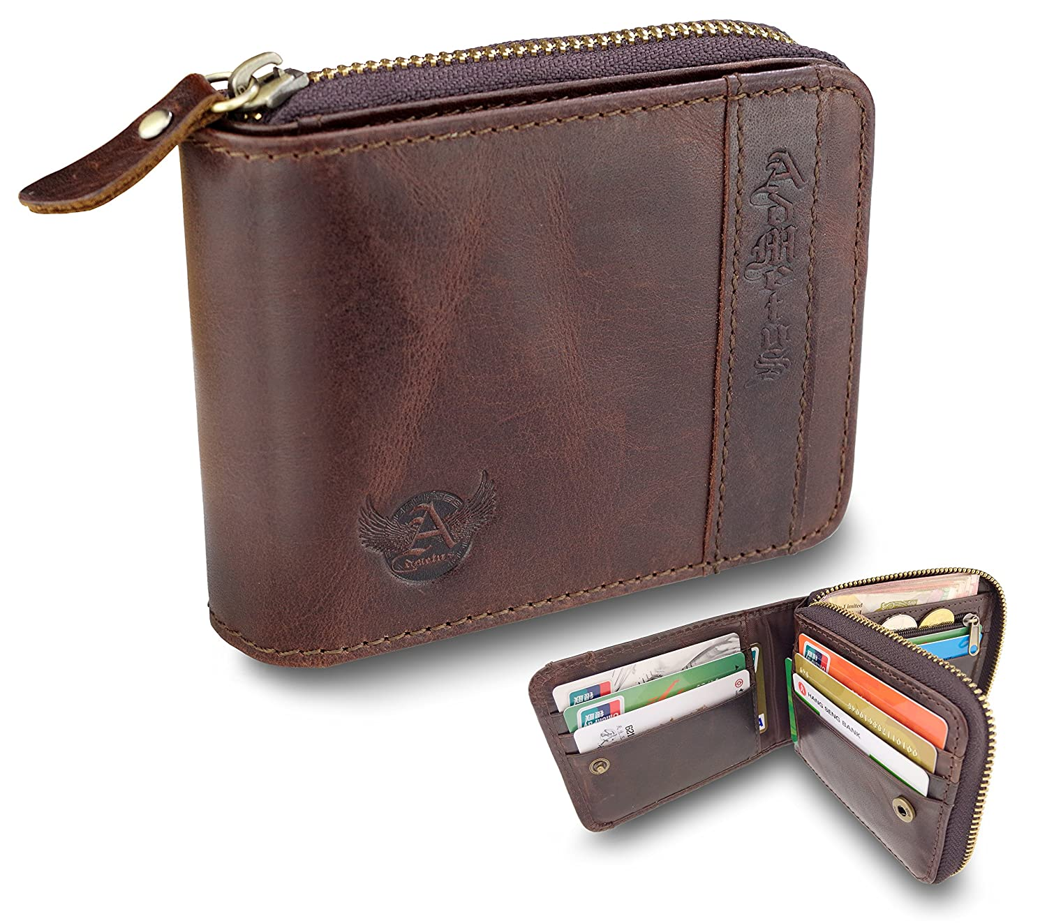 Admetus Genuine leather Zippered Bifold gifts for men wallet Exquisite gift box