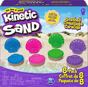 Kinetic Sand, Seashell Containers 8-Pack with 4 Neon Sand Colors and Kinetic Beach Sand, Play Sand Sensory Toys for Kids Ages 3 and up