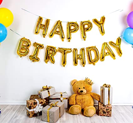 Premium Gold Happy Birthday Balloons Banner With Durable Foil 16 Inch Mylar 13 Individual Balloon Letters