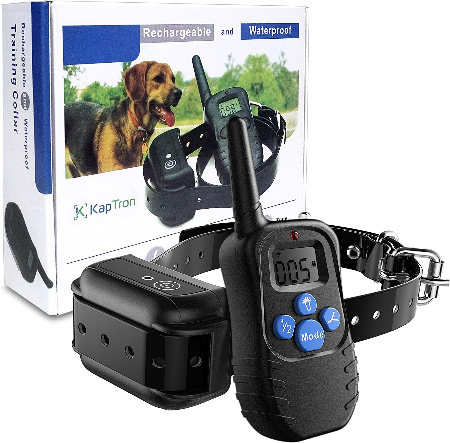 Kaptron Rechargeable Electric Dog Training Collar with Beep, Vibration and Electronic Shock Electric Collar
