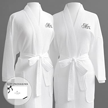 Luxor Linens Same-Sex Couple's Waffle Weave Bathrobe Set 100% Egyptian Cotton-Unisex/One Size Fits Most-Spa Robe,Luxurious,Plush,Elegant Script Embroidery Mrs./Mrs with Gift Packaging