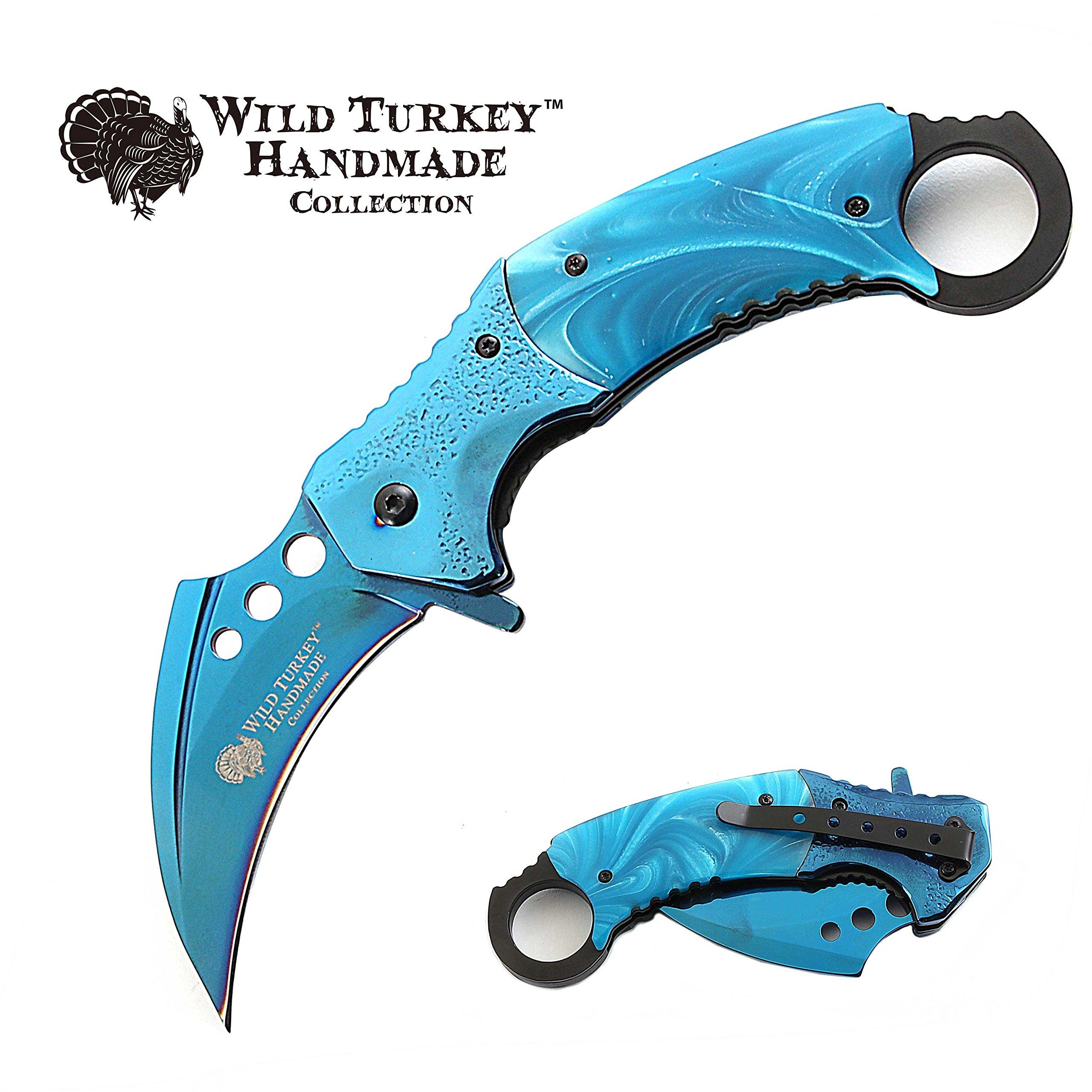 Wild Turkey Handmade Heavy Duty Hawk Bill Designed Karambit Spring Assisted Knife Hunting Camping Fishing Outdoors Lightning Fast Deployment - Razor Sharp Blade (Blue)