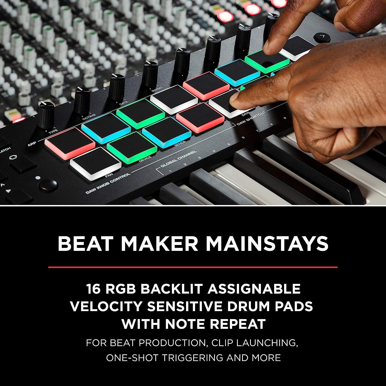Clavier ma/ître USB-MIDI 49 touches avec pads M-Audio Oxygen Pro 49 potentiom/ètres boutons et faders assignables MIDI et pack de logiciels inclus